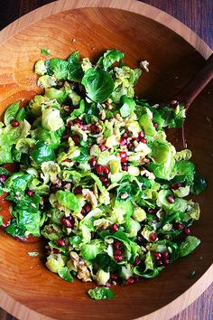 Brussels Sprouts Salad With Pomegranate, Walnuts, and Jalapeño — a sturdy vegan Fall salad from @alexandracooks, plus 40 more salads that aren't made with lettuce or mixed greens