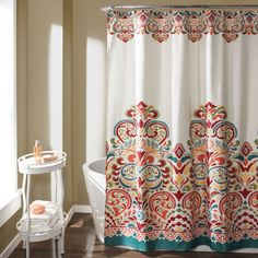 Update your bathroom with the intricate design of this 100-percent polyester shower curtain. Machine-washable for easy cleaning, the shower curtain features a colorful pattern to enliven your room's d