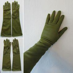 1950s dress gloves   vintage dress gloves   formal gloves   long formal gloves   evening gloves   olive green   small   The Olivia Gloves by VivianVintage8 on Etsy