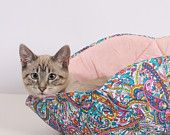 Cat Canoe a Creative and Unique Modern Kitty Bed Hand Made in Paisley Cotton