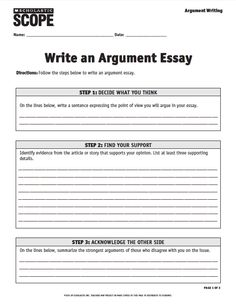 scholastic scope argument essay checklist
