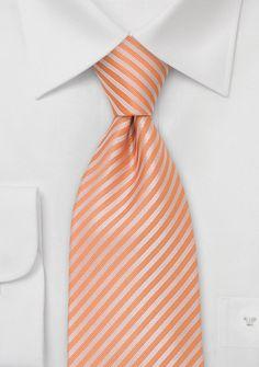 Tangerine tie with narrow stripes $14.90