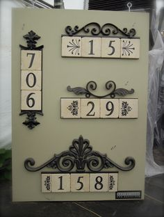 ~ Decorative Address Plaques with Tile House Number Plates, Tile House Numbers, House Address, Address Plaque, Exterior Door Colors, Tile Crafts, Ceramic Houses, Iron Furniture, Iron Decor
