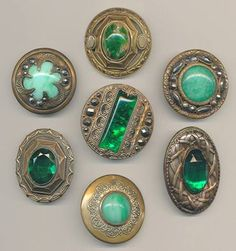 Happy St. Patrick's Day with GREEN Gay Nineties Jewels Buttons (1890's to 1910) from National Button Society on FACEBOOK.