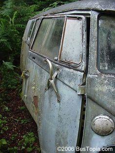 Vintage VW Type-II Bus Stored at Volkswagen Junkyard in the Pacific Northwest