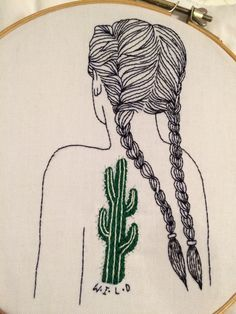 Cactus girl embroidery by querida sputnik
