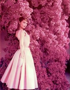Audrey Hepburn: Pink Flowers