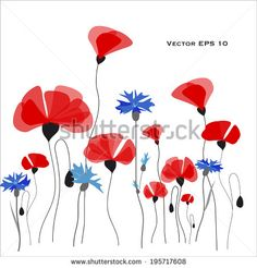 Poppies and cornflowers vector illustration - stock vector