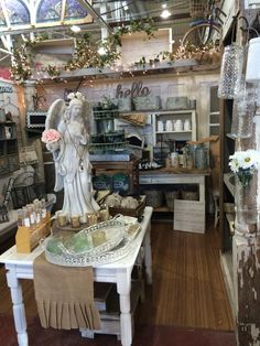 The Velvet Peony booth in the Black Dog Salvage marketplace in Roanoke, Virginia #shabbychic