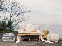 East Made Event Company Maryland Coastal Inspiration Styled Shoot as featured on Green Wedding Shoes. Photo by CJK Visuals, Beach wedding inspiration. Wedding beach lounge furniture from White Glove Rentals runner from Adorn Company