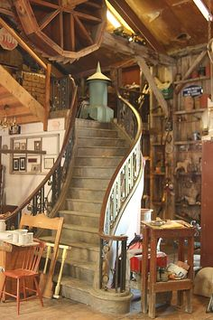 The staircase was originally a stage prop but it has found its home at Forks Road along with a wide range of collectables and curiosities. Theatre Stage, Theater, Stage Props, Wooden Train, Dream Studio, Studio Ideas, Train Station, Forks, My Dream