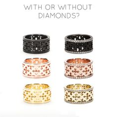 With or Without Diamonds? Rings by http://www.katiebydesign.com #jewelry #diamonds #diamondrings #rosegold #oxidized