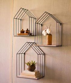 Carbon Loft McClarnon Wood and Metal House Shelves (Set of Gray Decorative Accessories, Decorative Items, Decorative Shelves, Diy Home Accessories, House Shelves, Cool Shelves, Wall Shelves Design, Bedroom Decor, Wall Decor