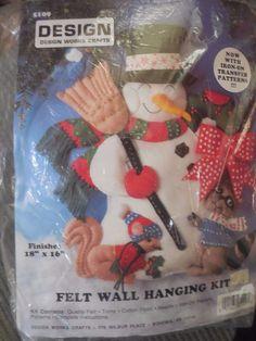 Design Works 5109 Woodland Friends Felt Wall Hanging Kit Snowman Christmas for sale online Felt Wall Hanging, Embroidery Kits, Christmas Snowman, Woodland, It Works, Pattern, Crafts, Animals, Ebay