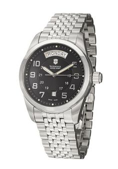 Victorinox Swiss Army Men's 24148 Ambassador Black Dial Watch Victorinox Swiss Army. $599.00. Water-resistant to 330 feet (100 M). Stainless steel round case with day and date. Black dial. Stainless steel bracelet. Luminous hands and hour markers. Save 30%!
