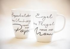 """""""Angel & Superhero / Mom & Dad"""" – Tasse von Hug in a Cup bei DaWanda …. - Diy gift For Kids Ideen Fathers Day Presents, Presents For Kids, Diy Presents, Diy Father's Day Gifts, Father's Day Diy, Envelope Book, Mamas And Papas, Art Wall Kids, Mom And Dad"""