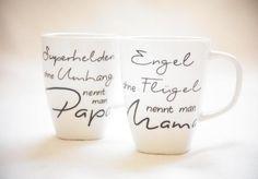 """Engel & Superheld / Mama & Papa"" - 2x 300ml Tasse von Hug in a Cup auf DaWanda.com"