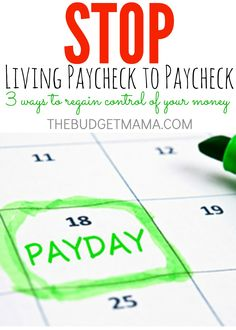 Stop Living Paycheck to Paycheck with these three strategies to regain control over your money. It may be easier than you think. Budget, Budgeting Tips, Ways To Save Money, Money Tips, Money Saving Tips, Money Budget, Financial Peace, Financial Tips, Financial Literacy, Budgeting Finances, Budgeting Tips
