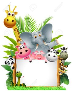 Sauvage animal cartoon africaine with blank sign photo Deco Jungle, Boarder Designs, Zoo Park, Jungle Theme Birthday, Blank Sign, School Frame, Borders For Paper, Safari Party, African Animals