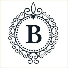 Monogram in Filigree Frame Decal   Vinyl Stencil-pottery barn style, monogram, initial, personalized, decal, sticker, stencil