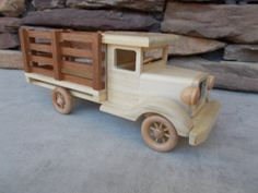 Wooden Stake Bed Truck With Spoked Wheels Free shipping on 2nd item