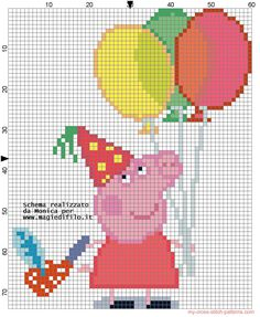 Peppa Pig party - Pattern by Monica Free Cross Stitch Charts, Cross Stitch For Kids, Cross Stitch Baby, Cross Stitch Kits, Cross Stitch Designs, Cross Stitch Patterns, Cross Stitching, Cross Stitch Embroidery, Pig Crafts