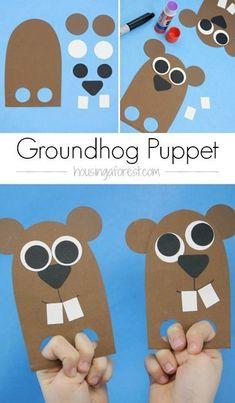 DIY finger puppet ~ Groundhog Day craft for kids.