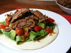 This Slow Cooker Mexican Shredded Beef is PERFECT for taco night!! #mexicanfood #skinnyms #healthy