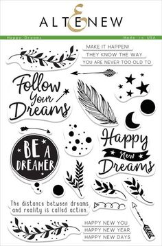 Not only can you use this set for New Year cards, but you can also get creative and use it for any themes like graduation, encouragement, congratulations, or just because with mix-and-match sentiment options. https://altenew.com/products/happy-dreams-stamp-set