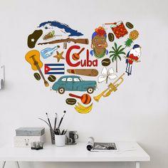 Cuba illustration wall sticker