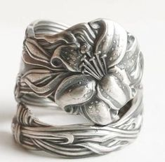 Lovely Tiger Lily Ring Sterling Silver Spoon Ring Stargazer