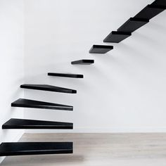 A Collection Of Amazing Staircase Design Ideas : Installed Walls Black Painted Steps Modern Staircase Design Inspiration Without Railing