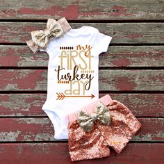 My First Turkey Day Bodysuit, Baby, Baby Girl, Girls, Toddler, Thanksgiving, Halloween, Fall, Sparkle, Glitter, Pumpkin, Pumpkin Spice, Bow