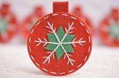 Set of 6pcs handmade felt Christmas Ornamentdevil red by AsecInc