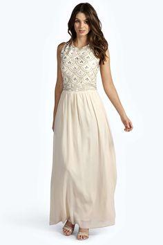 Boutique Sienna Embellished Top Chiffon Maxi Dress at boohoo.com