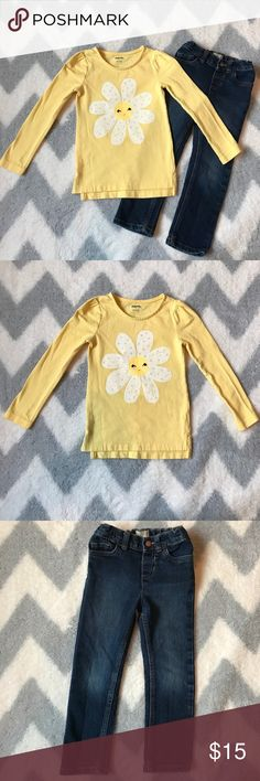 Top and jeans Yellow long sleeve, cotton top with flower by Gymboree size 4T. And skinny jeans by Children's Place. Jeans have adjustable waist band buttons. Size 4T. Both items are in excellent condition no rips or stains. I have lots of children's clothing check out my closet! Gymboree Shirts & Tops