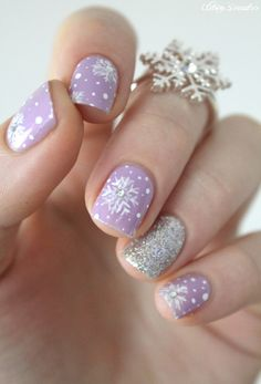 Pretty purple snowflake nail art~ (remember I did not do this design)