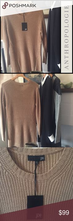 | Anthropologie joh | sweater dress with zippers | Camel colored sweater dress or long sweater.  joh brand from Anthropologie. Large knit, cables, zippers up the front hem. M. NWT. Anthropologie Sweaters