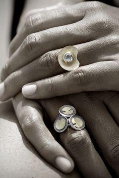 Anillo Oro Aguamarina y anillos acetabularia