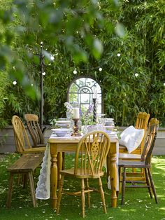 A Summer Celebration Lockdown Style Outdoor Rooms, Outdoor Dining, Outdoor Furniture Sets, Outdoor Decor, Dining Furniture, Outdoor Dinner Parties, Outdoor Entertaining, Pine Table, A Table