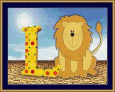 L Is For Lion Cross Stitch Pattern
