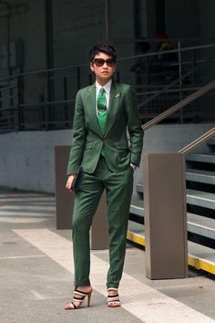 Woman in men's tailored suit and heels....I'll call it swagga mix!