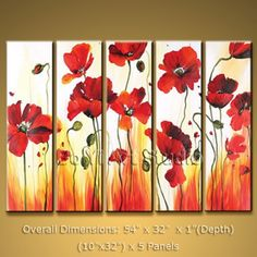 """$70 Contemporary Abstract ART Modern Oil Painting Poppy Flower #2024 Poppies are so pretty, and I definitely think this painting is under priced! Its 54"""" x 32"""" with 5 panels."""