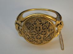 VINTAGE LADIES COMPACT CUFF BRACELET POWDER MIRROR PUFF 1930s FILIGREE