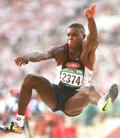 Carl Lewis Wins Gold Lewis took the gold in the long jump at the 1996 Olympics becoming the second track and field athlete to ever win four gold medals in one event. This medal also made him the second athlete to win nine gold medals. Carl Lewis, 1992 Olympics, Summer Olympics, Long Jump, High Jump, Olympic Track And Field, Triple Jump, Athletic Events, Pole Vault