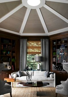The Study/Den - Magnificently constructed within the round with an outstanding ceiling with furnishings & decor to match.  Simply impressive in style and design.  (re-pinned photo only from Jeffrey Alan Marks)