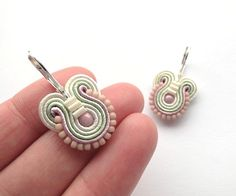 Pastel Earrings Small Drop Earrings Pink and by BeadsNSoutache