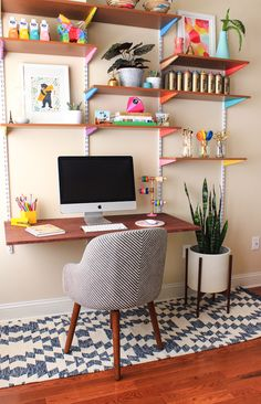 DIY Mounted Wall Desk: 21 IKEA Desk Hacks for the Most Productive Workspace *Ever* via Brit + Co