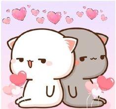 That face when chiklu farts the gulabdar khushbu but you still adore her cause she is best 💩😆 Chibi Cat, Cute Chibi, Cute Bear Drawings, Kawaii Drawings, Kawaii Cat, Kawaii Anime, Cat Couple, Kawaii Illustration, Cute Love Pictures