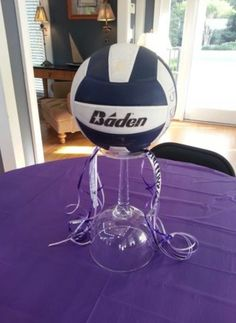 Centerpiece I made for daughter Emily Shelton's volleyball banquet by Debbie Shelton. Volleyball Decorations, Volleyball Gifts, Volleyball Team, Girls Softball, Girls Basketball, Volleyball Quotes, Volleyball Players, Cheerleading Gifts, Volleyball Pictures